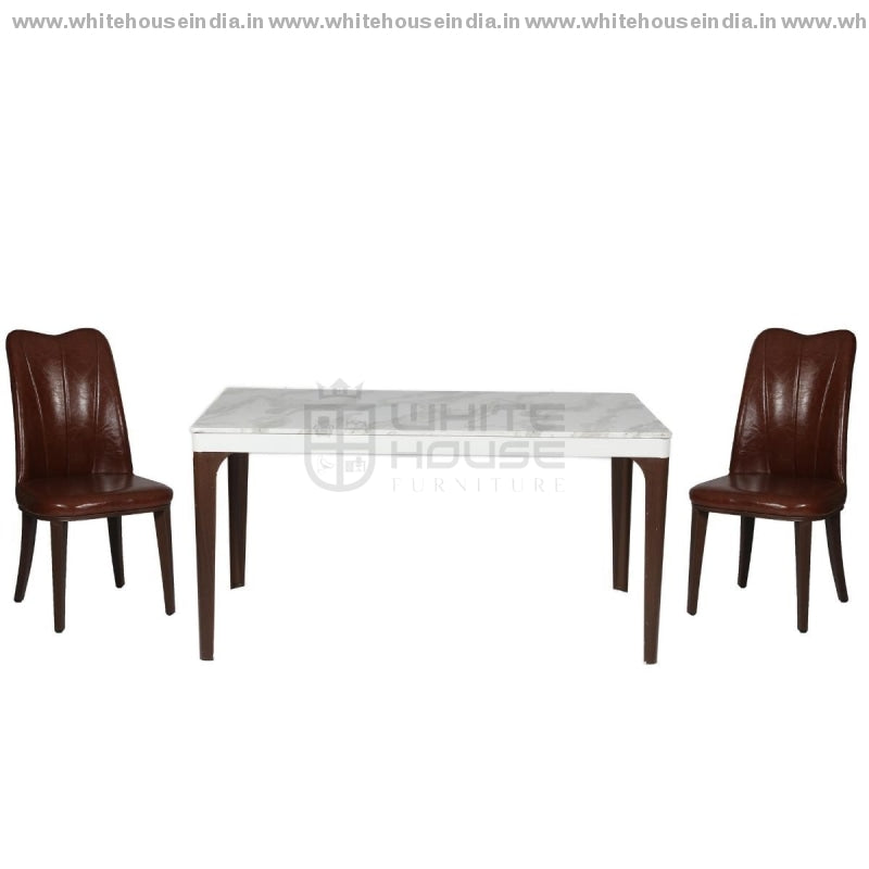 1221/t1110/x2 Dining Table Set (1+6) 1.5M*0.9M / White Wooden Base With Artificial Marble Top Chair