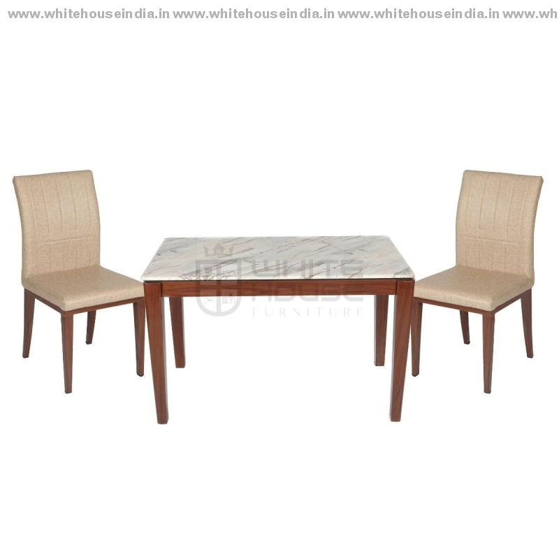 1222/t1112G/x1 Dining Table Set (1+4) 1.2M*0.7M / Brown Wooden Base With Artificial Marble Top Chair