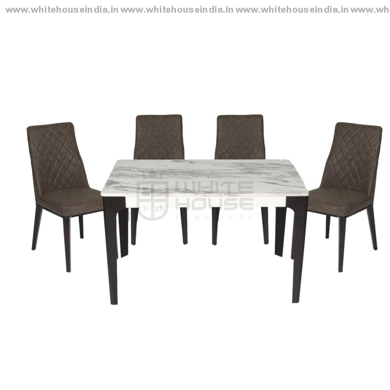 1222/t1112G/x1 Dining Table Set (1+4) 1.2M*0.7M / Grey Wooden Base With Artificial Marble Top Chair