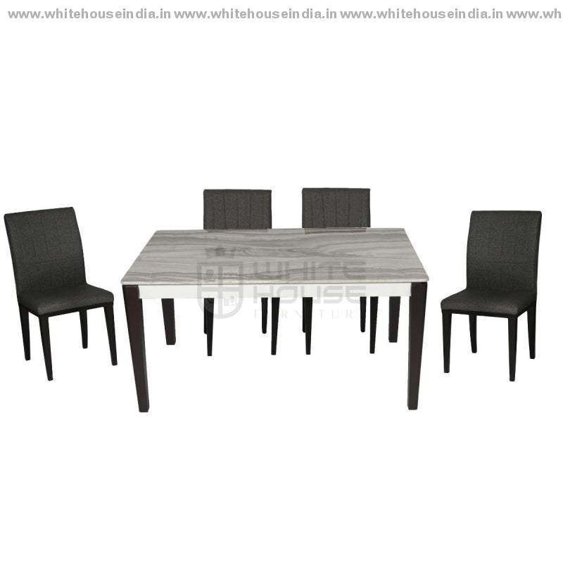 1289/t1213G/812 Dining Table Set (1+4) 1.2M*0.7M / Grey Wooden Base With Artificial Marble Top Chair