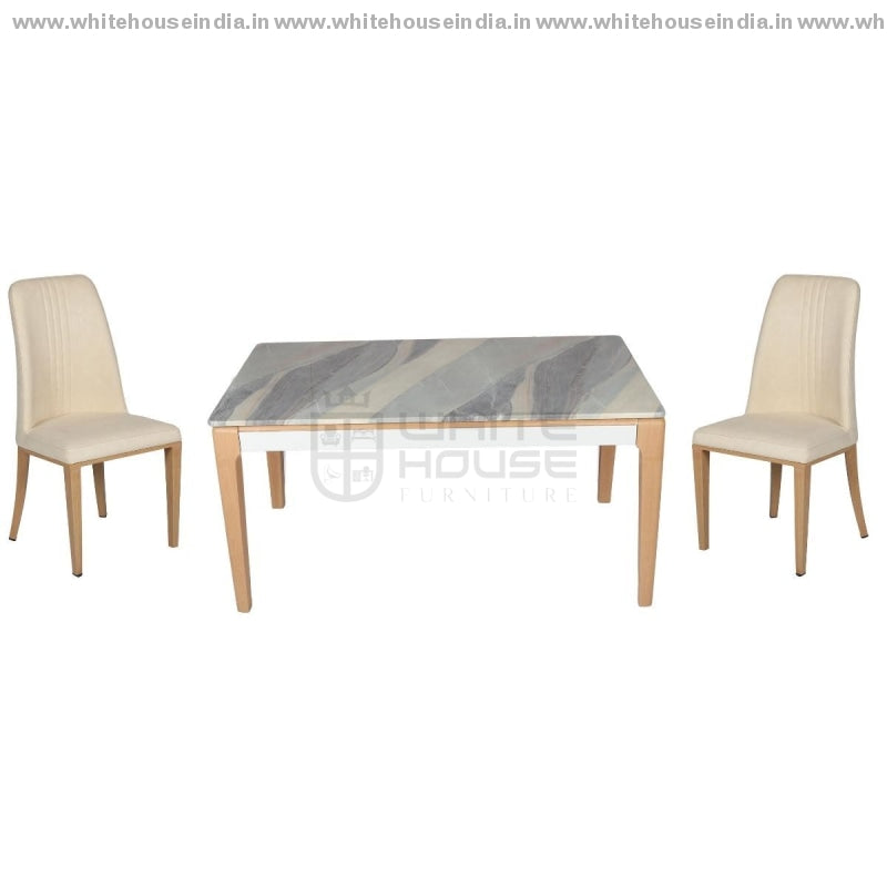 130/t1806/y612 Dining Table Set (1+6) 1.5M*0.9M / Yellow Wooden Base With Artificial Marble Top