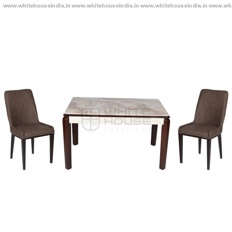152/t1101/y808 Dining Table Set (1+4) 1.2M*0.7M / Brown Wooden Base With Artificial Marble Top Chair