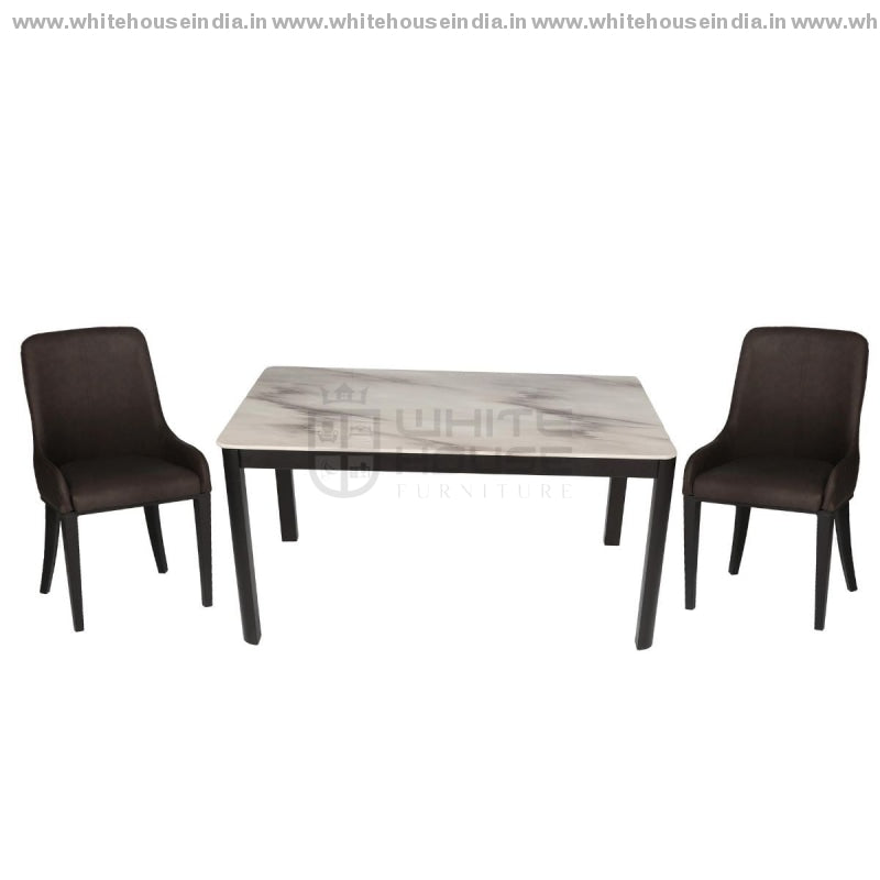 152/t1101/y808 Dining Table Set (1+6) 1.5M*0.9M / Brown Wooden Base With Artificial Marble Top Chair