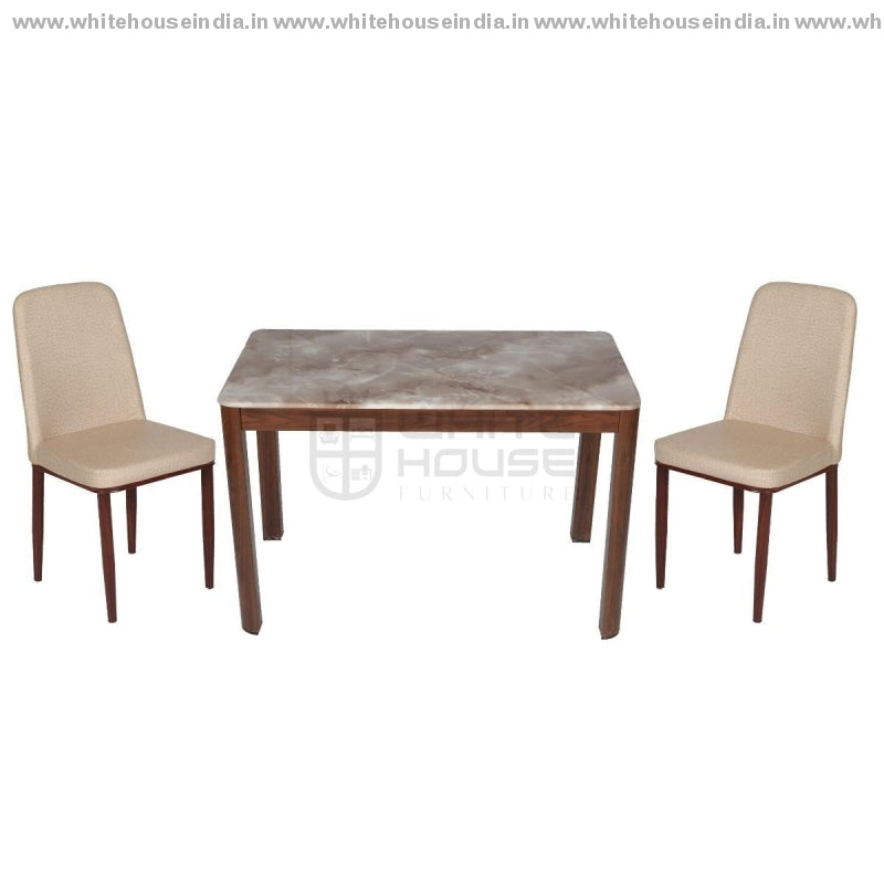 206/11/117 Dining Table Set (1+4) 1.2M*0.7M / Brown Wooden Base With Artificial Marble Top Chair