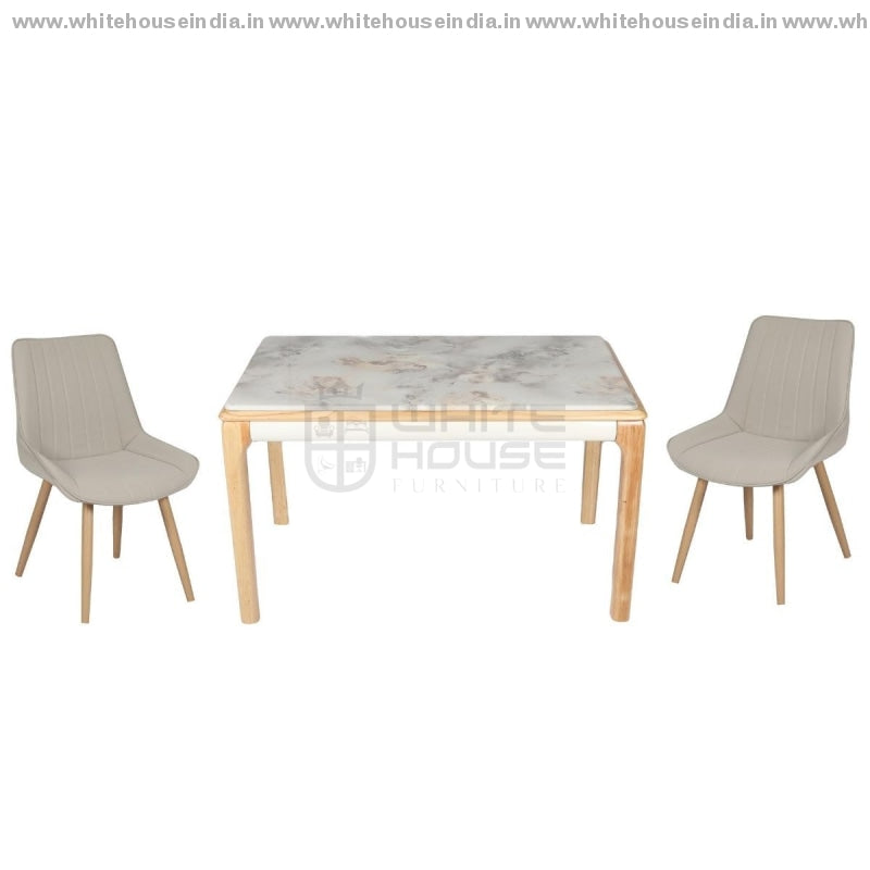 602/608 Dining Table Set (1+4) 1.3M*0.8M / Yellow Wooden Base With Artificial Marble Top Chair Metal