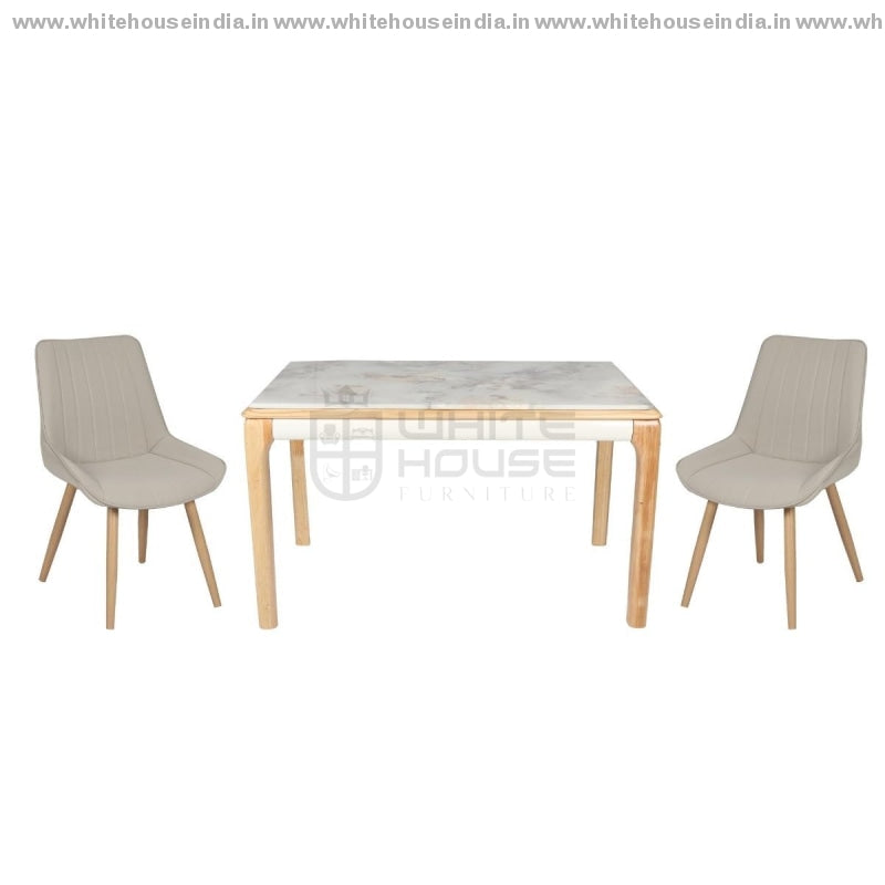 602/608 Dining Table Set (1+6) 1.5M*0.9M / Yellow Wooden Base With Artificial Marble Top Chair Metal