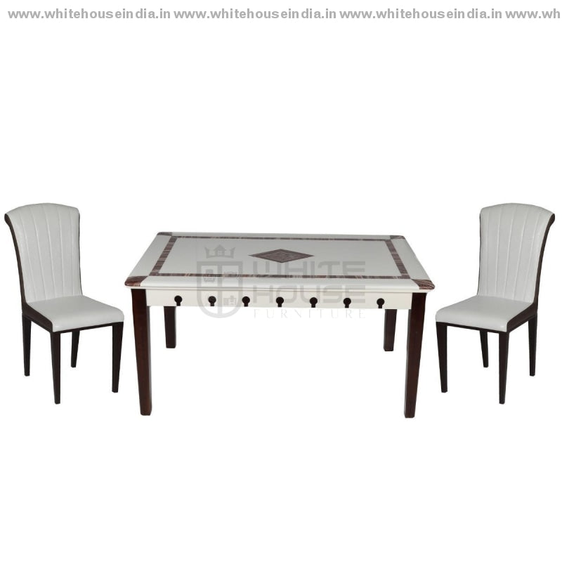 8063/y16 Dining Table Set (1+4) 1.3M*0.8M / White Wooden Base With Artificial Marble Top Chair Metal
