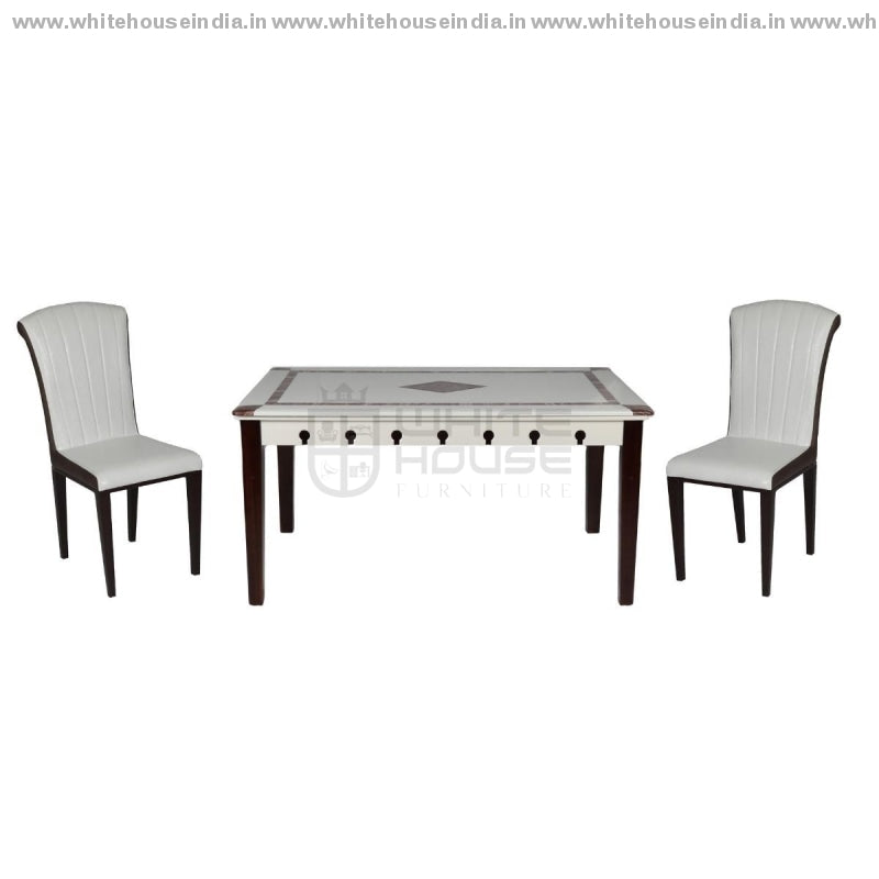 8063/y16 Dining Table Set (1+6) 1.5M*0.9M / White Wooden Base With Artificial Marble Top Chair Metal
