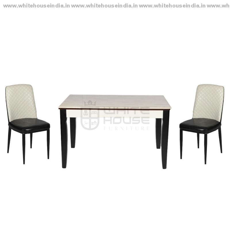 8064/y29 Dining Table Set (1+4) 1.3M*0.8M / Black Wooden Base With Artificial Marble Top Chair Metal