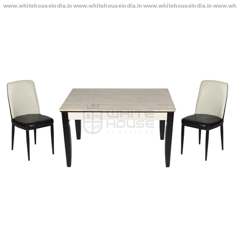 8064/y29 Dining Table Set (1+4) 1.3M*0.8M / Off White Wooden Base With Artificial Marble Top Chair