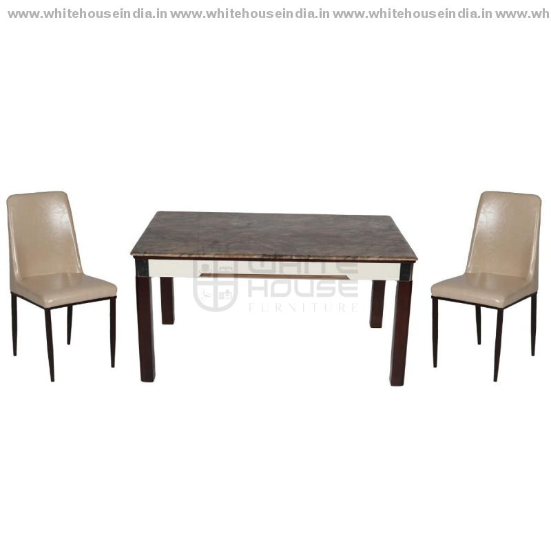 8065/y19 Dining Table Set (1+6) 1.5M*0.9M / Brown Wooden Base With Artificial Marble Top Chair Metal