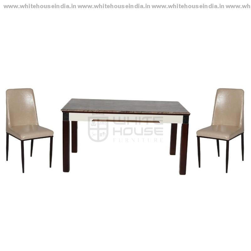 8065/y19 Dining Table Set (1+6) 1.5M*0.9M / Off White Wooden Base With Artificial Marble Top Chair