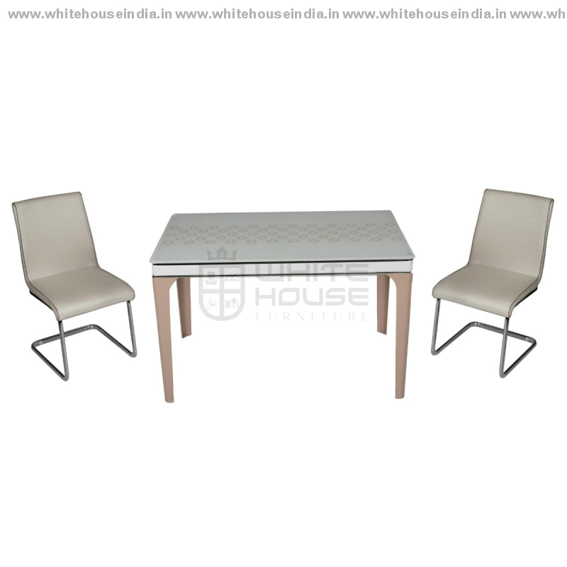 8134/615 Dining Table Set(1+4) 1.2M*0.7M / White Wooden Base With Artificial Marble Top Chair Metal