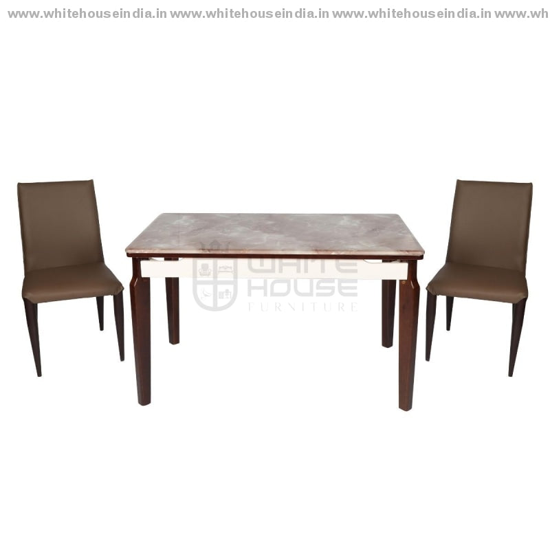 8/a-93 Dining Table Set (1+4) 1.3M*0.8M / Brown Wooden Base With Artificial Marble Top Chair Metal