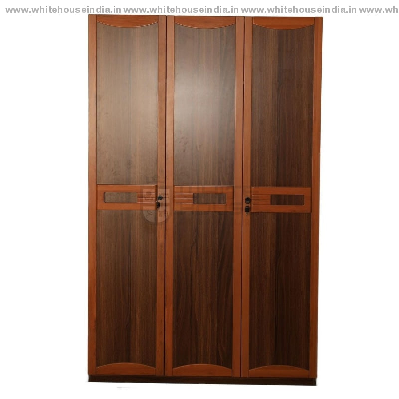 9E001 Wardrobe 3 Door Width=47 Height=79 Depth=23 Inc. / Brown Material Mdf With Laminate Cupboard