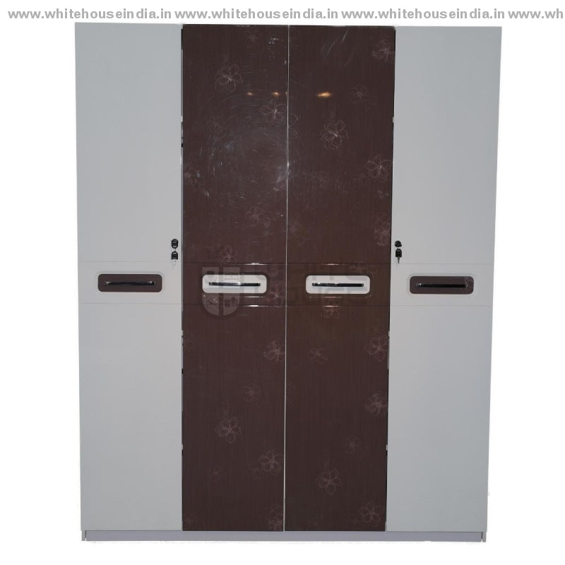 9F-001 Wordrobe 4 Door Width=63 Height=79 Depth=23 Inc. / White Material Mdf With Deco Paint