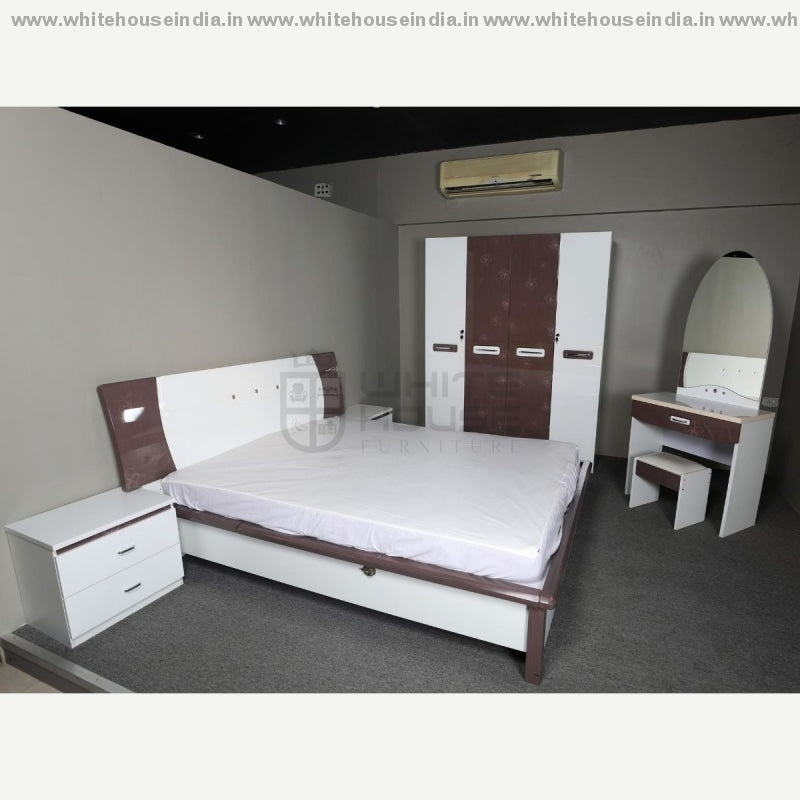 9F-004 Bedroon Set 1.8M King Size Bed Mattress = 71*79 Inc. / White Material Mdf With Deco Paint