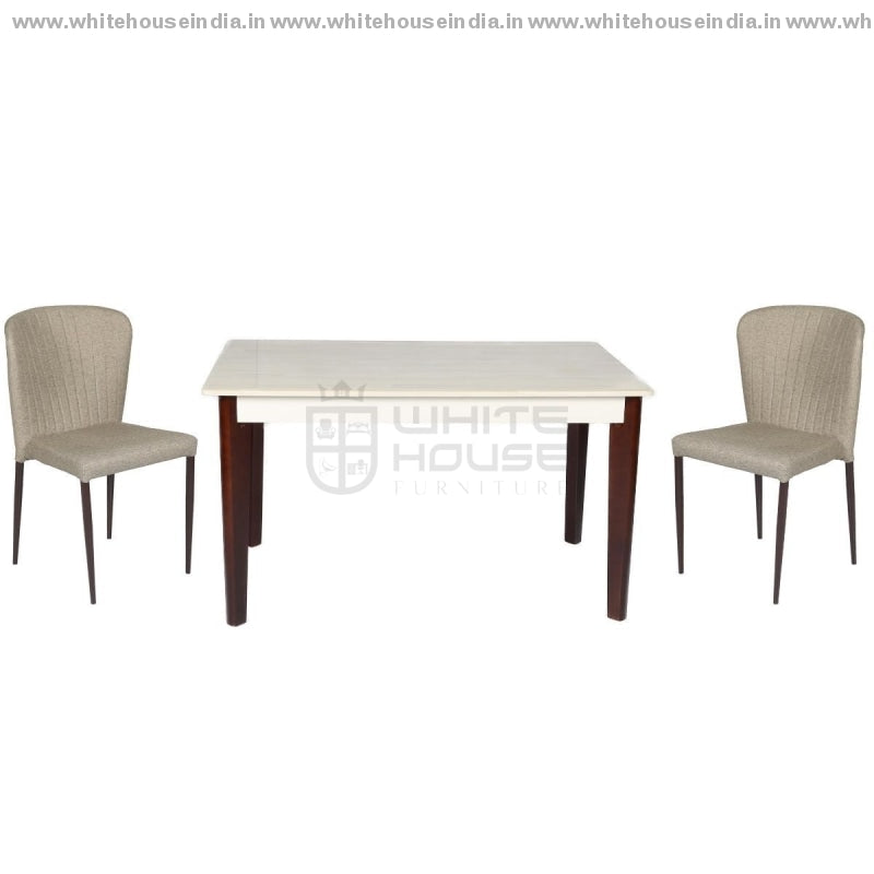 A-17/y58 Dining Table Set (1+4) 1.3M*0.8M / Brown Wooden Base With Artificial Marble Top Chair Metal