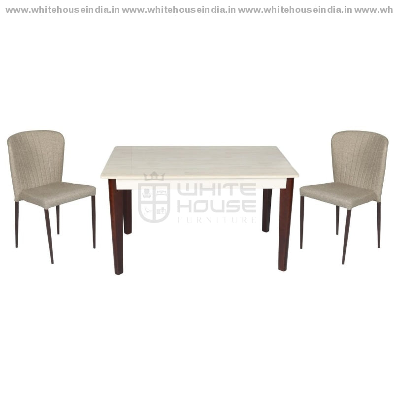 A-17/y58 Dining Table Set (1+4) 1.3M*0.8M / Off White Wooden Base With Artificial Marble Top Chair