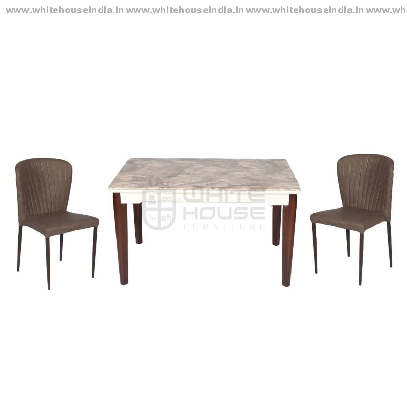 A-7/y58 Dining Table Set (1+4) 1.3M*0.8M / Brown Wooden Base With Artificial Marble Top Chair Metal