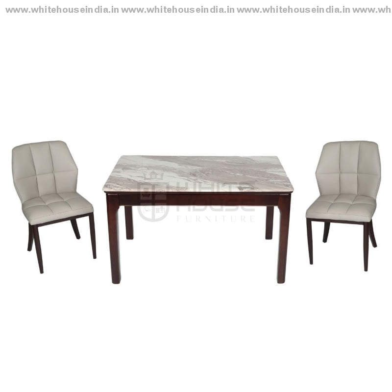 A30-1/2018-3 Dining Table Set (1+4) 1.3M*0.8M / Brown Wooden Base With Artificial Marble Top Chair