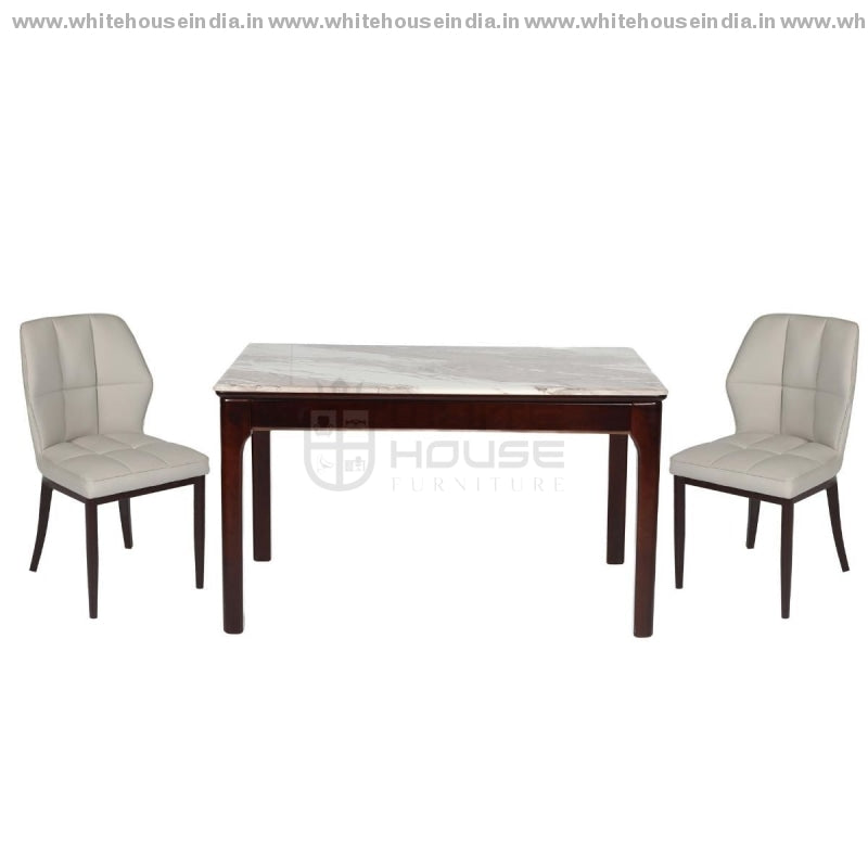 A30-1/2018-3 Dining Table Set (1+6) 1.5M*0.9M / Brown Wooden Base With Artificial Marble Top Chair