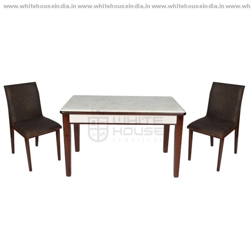 A86/2019-1 Dining Table Set (1+4) 1.3M*0.8M / Brown Wooden Base With Artificial Marble Top Chair