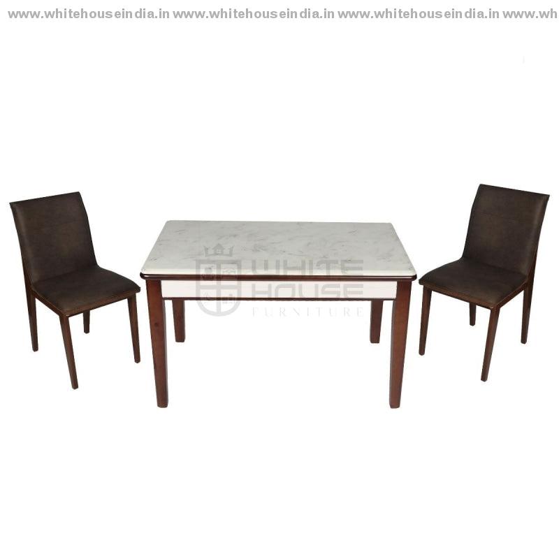 A86/2019-1 Dining Table Set (1+4) 1.3M*0.8M / Off White Wooden Base With Artificial Marble Top Chair