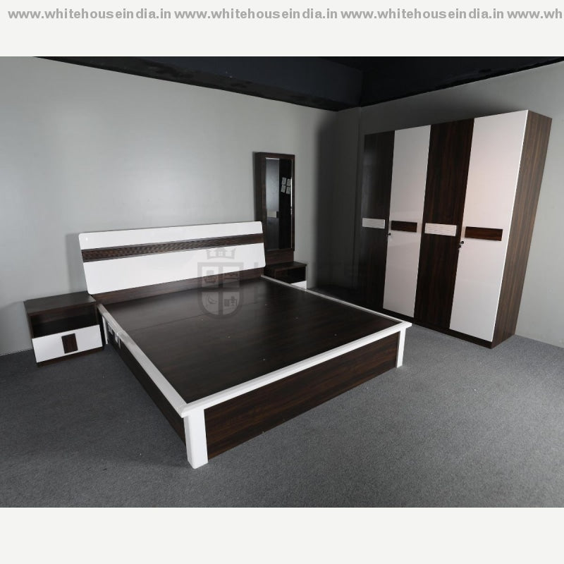 Bs-153 Bedroom Set 1.8M King Size Bed Mattress = 71*79 Inc. / Off White Material Mdf With Deco Paint