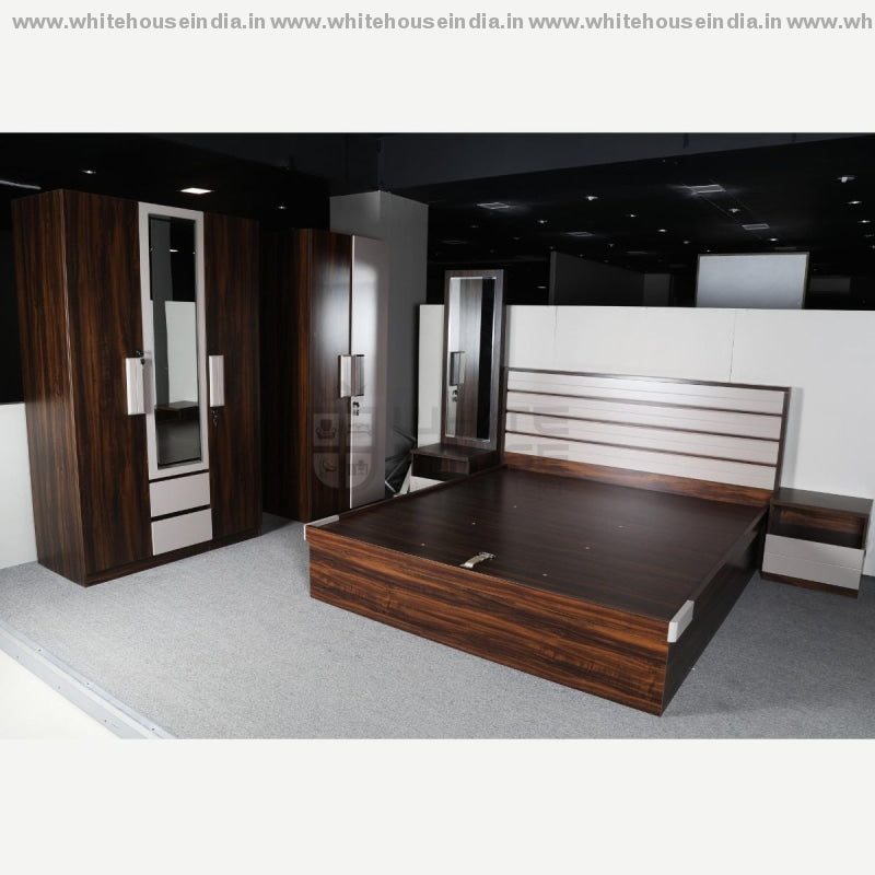 Bs-193 Bedroom Set 1.5M Queen Size Bed Mattress = 59*79 Inc. / Grey Material Mdf With Deco Paint &