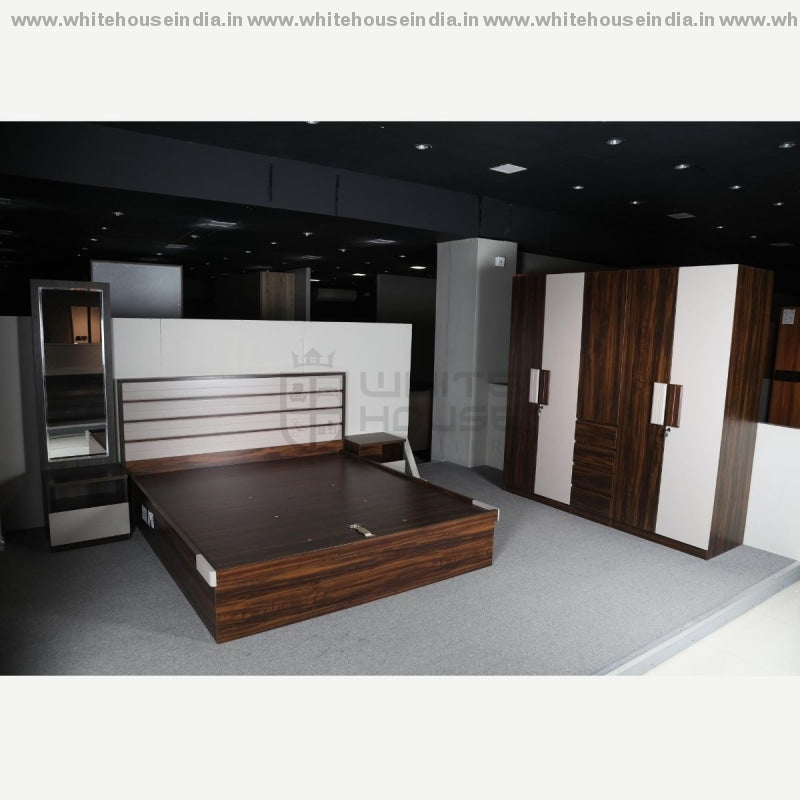 Bs-193 Bedroom Set 1.8M King Size Bed Mattress = 71*79 Inc. / Brown Material Mdf With Deco Paint &
