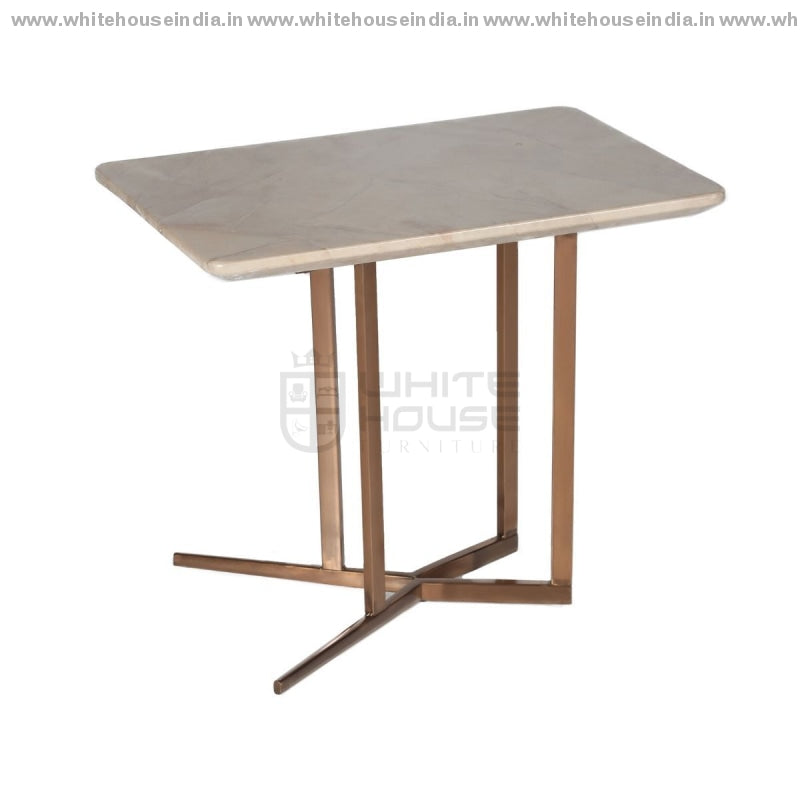 Cj-182B Corner Table 0.6M*0.4M / #b76E79 Stainless Steel Base With Artificial Marble Top Center
