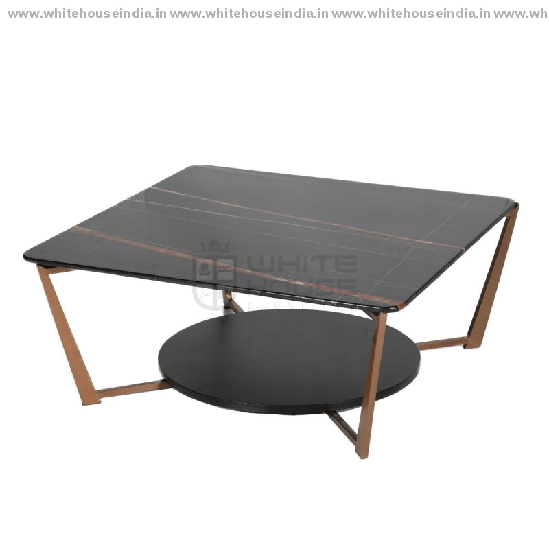 Cj-183A Center Table 0.85M*085M / #b76E79 Stainless Steel Base With Artificial Marble Top