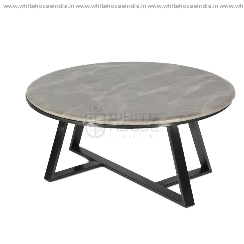 Ct-2105 Center Table 0.9M*0.9M / Black Stainless Steel Base With Artificial Marble Top Center Tables