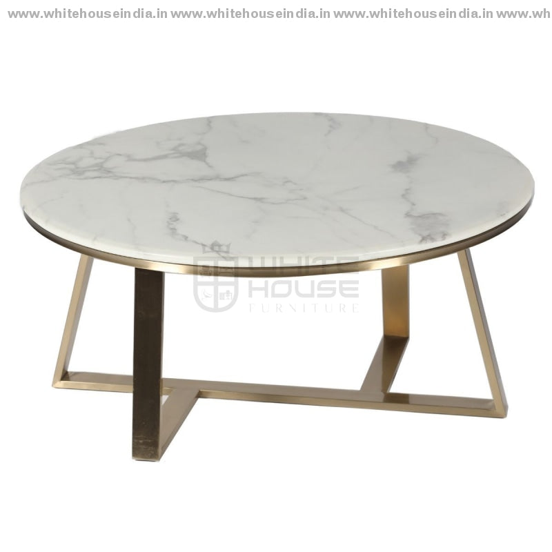 Ct-2105 Center Table 0.9M*0.9M / #ffdf00 Stainless Steel Base With Artificial Marble Top Center