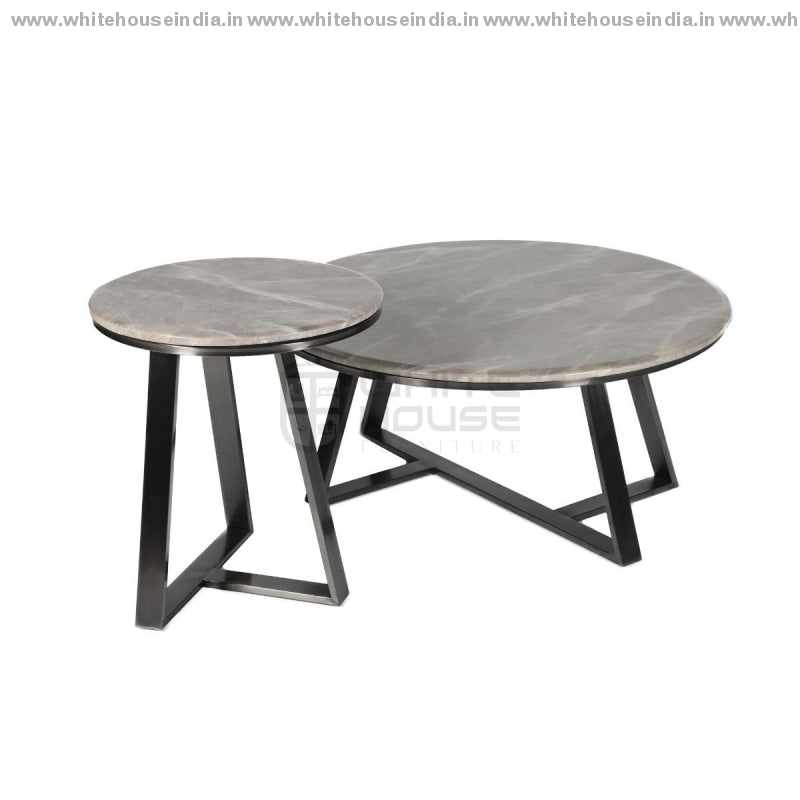 Ct-2105 Center Table Set B- 0.9M*0.9M S- 0.5M*0.5M / #000000 Stainless Steel Base With Artificial