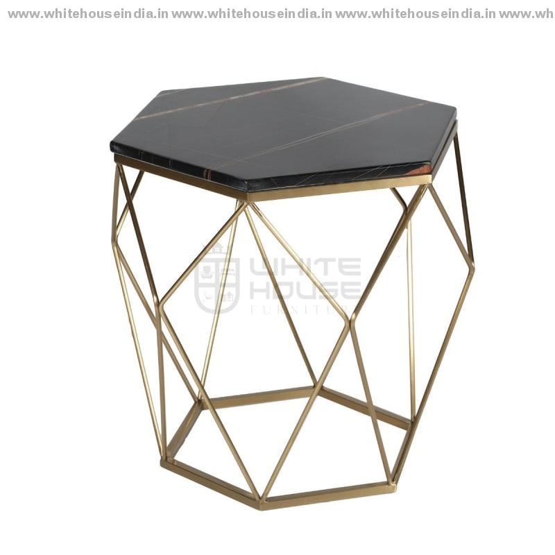 Ct-2751 Corner Table 0.5M*0.5M / #cfb53B Stainless Steel Base With Artificial Marble Top Center