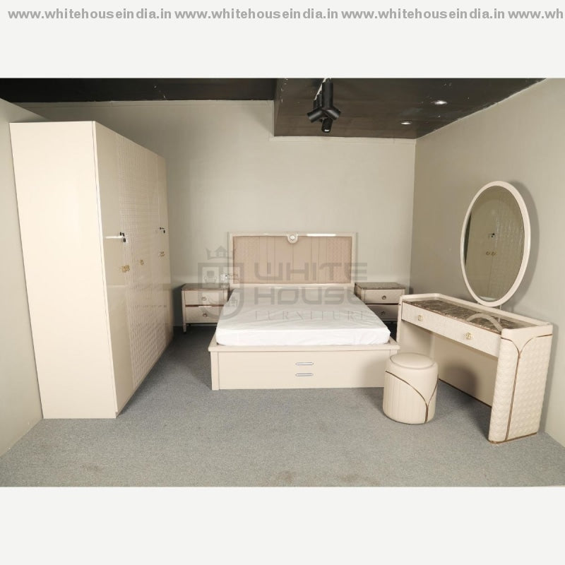 M2001 Bedroon Set 1.5M Queen Size Bed Matters = 59*79 Inc / Beige Material Mdf With Italian Deco