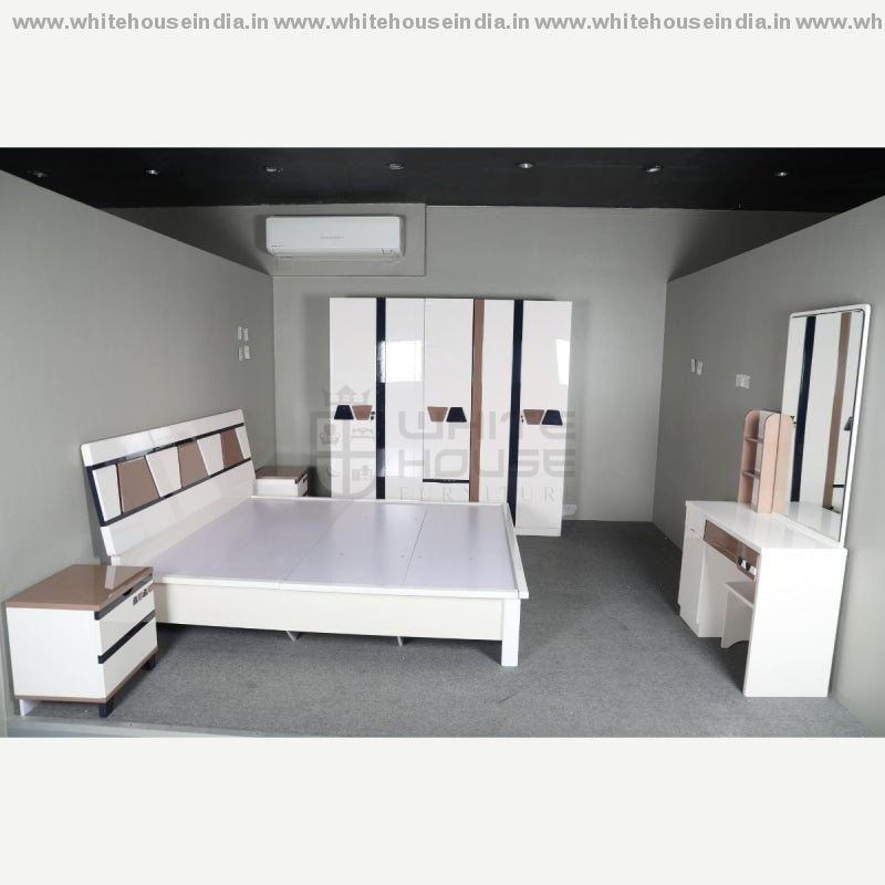 S03 Bedroom Set 1.8M King Size Bed Mattress = 71*79 Inc. / Off White Material Mdf With Deco Paint