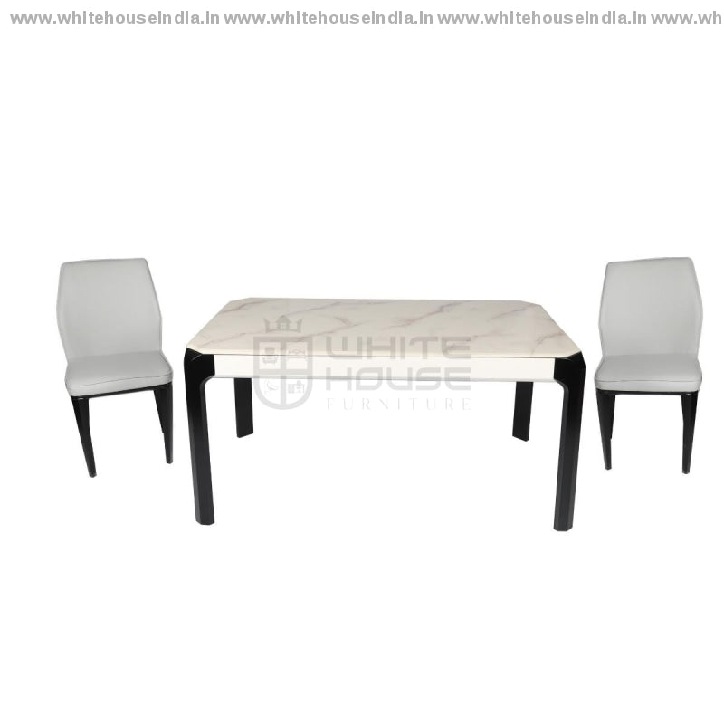 S70/8063-2 Dining Table Set (1+4) 1.3M*0.8M / Off White Wooden Base With Artificial Marble Top Chair