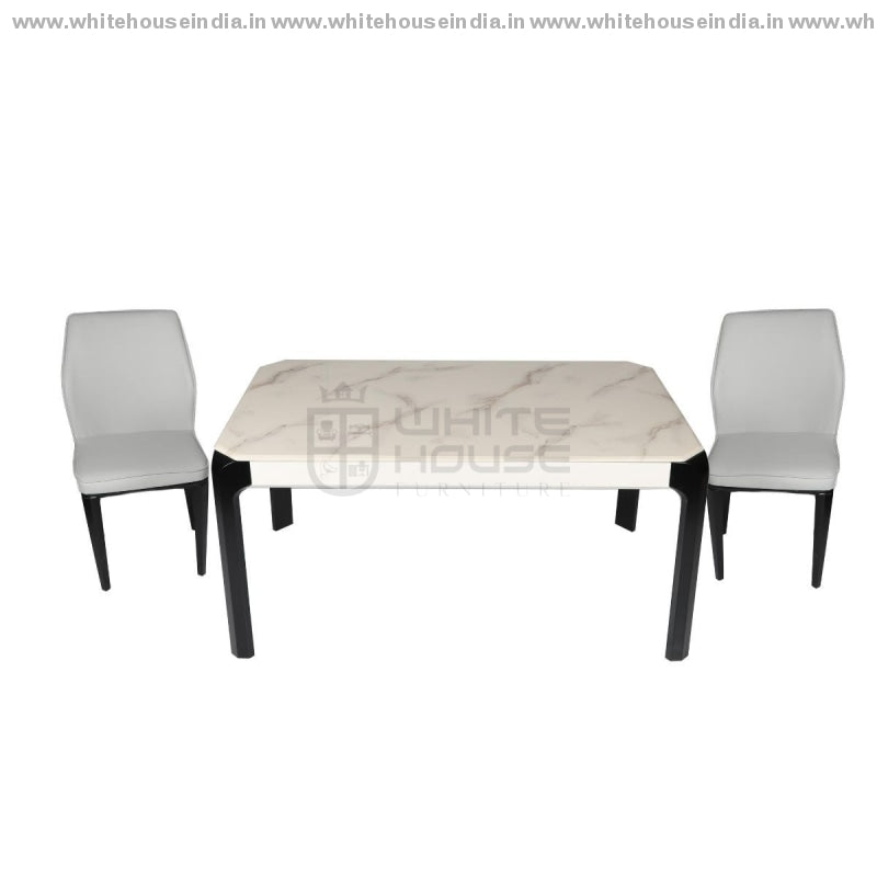 S70/8063-2 Dining Table Set (1+6) 1.5M*0.9M / Off White Wooden Base With Artificial Marble Top Chair