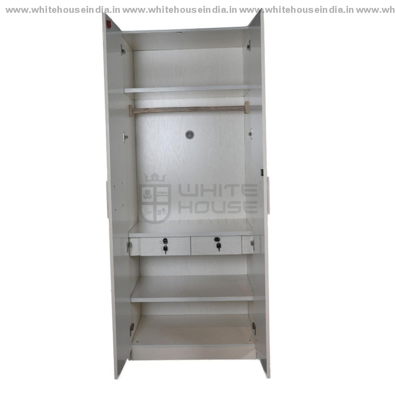 V-01 Wardrobe 2 Door Width=32 Height=79 Depth=23 Inc. / Off White Material Mdf With Deco Paint