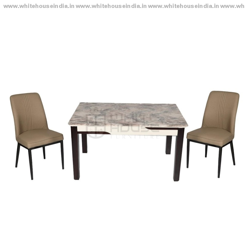 Xl-06/c-958 Dining Table Aet (1+4) 1.3M*0.8M / Beige Wooden Base With Artificial Marble Top Chair