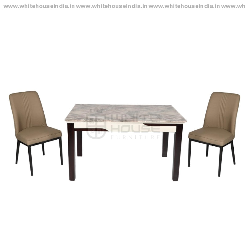 Xl-06/c-958 Dining Table Aet (1+4) 1.3M*0.8M / Brown Wooden Base With Artificial Marble Top Chair