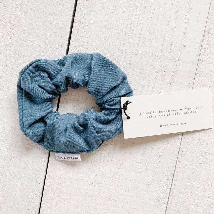 Upcycled fabric hair scrunchie in Ocean Blue from Bellantoni Designs