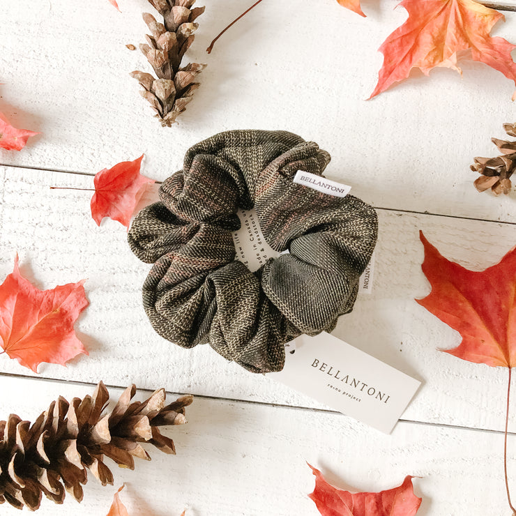 Upcycled fabric hair scrunchie in Forest Green Plaid from Bellantoni Designs