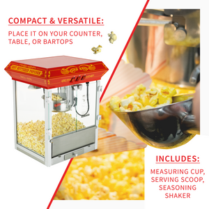 FunTime FT825CR 8oz Red Bar Table Top Popcorn Popper Maker Machine