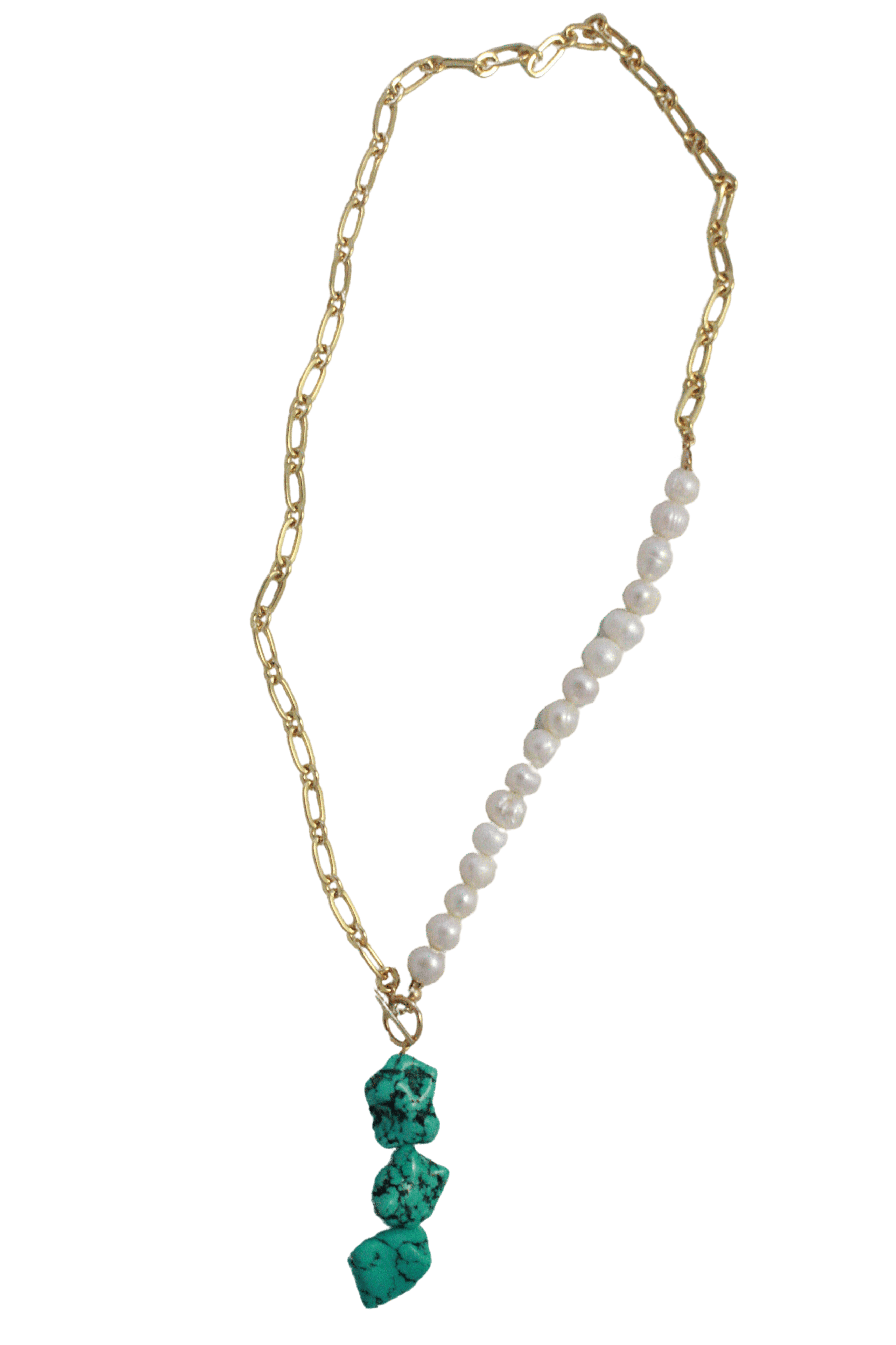 half pearl half chain necklace with turquoise pendant