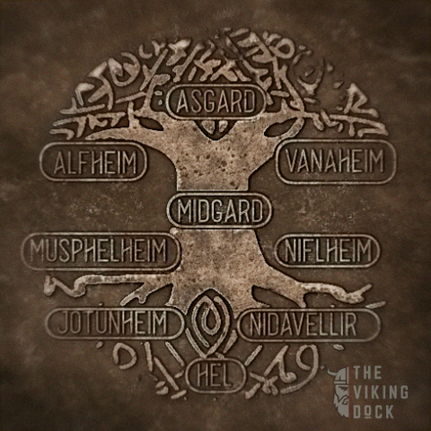artistic representation of the nine realms of norse mythology and cosmology