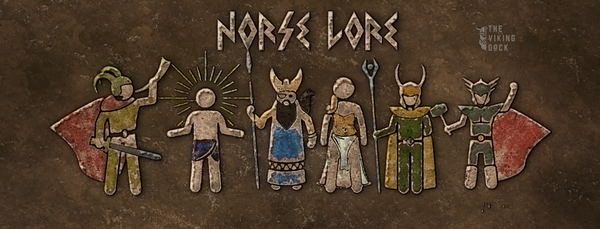 coloured image of artistic representations of the norse gods